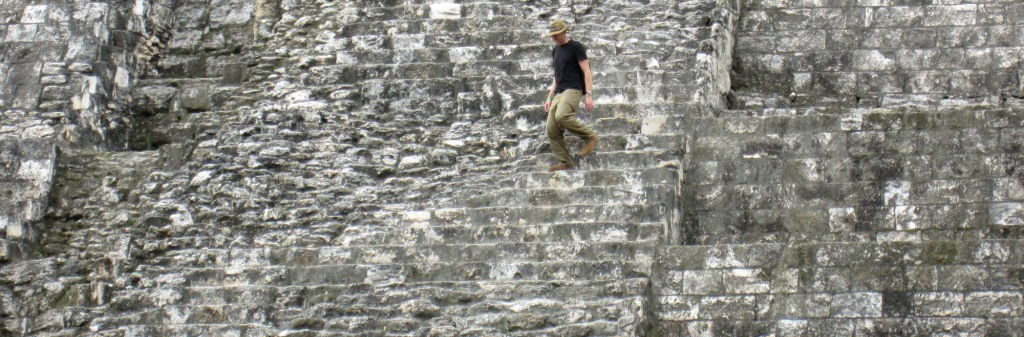 Scott Francisco hiking through a mayan ruin (El Peten, Guatemala) on Brooklyn Bridge Forest Project