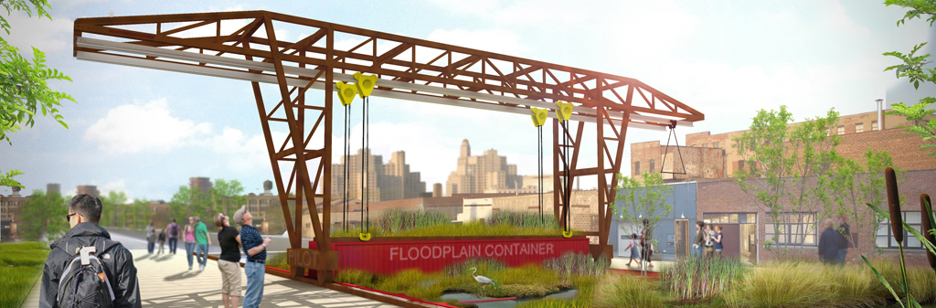 Modular floodplain with industrial gantry crane, shipping containers as wetland modules