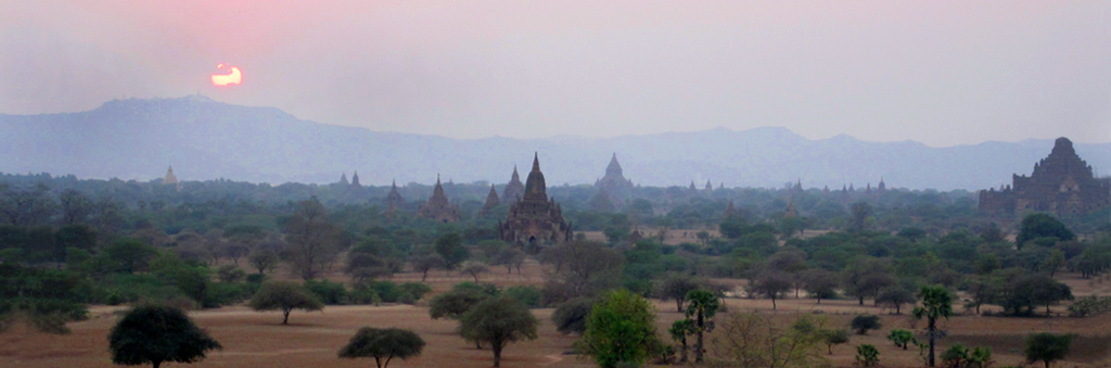 Sunset over the temples of Bagan Myanmar, Burma, surreal landscape