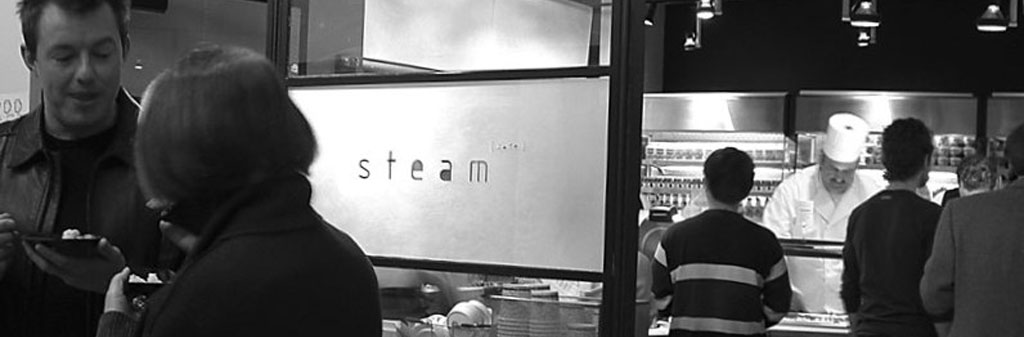 the Steam Cafe sign on opening day