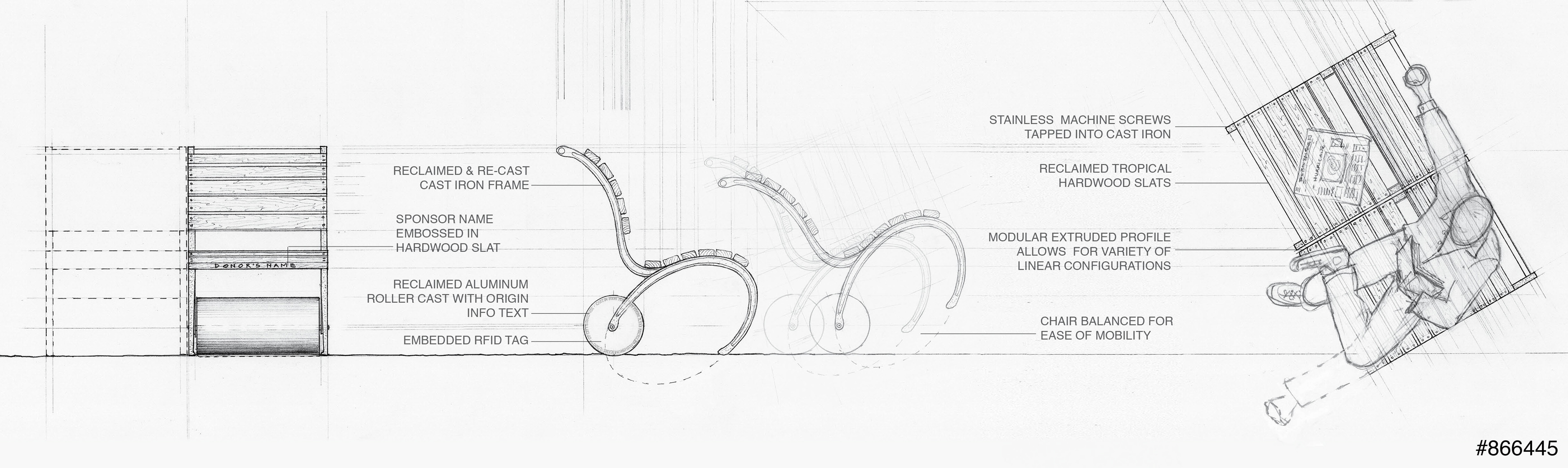 Chair design drawing - Battery Park Chair Design