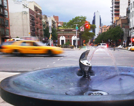 NYC fountain and taxi