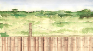 Brooklyn Bridge Forest watercolor drawing