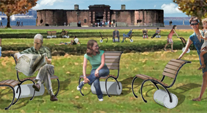 moveable chair design for New York City, Battery Park
